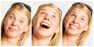 Inzameling van portretten van een lachende vrouw stock foto