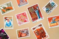 Inzameling van postzegels stock afbeeldingen