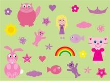 Inzameling van pretmateriaal voor meisjes Royalty-vrije Stock Afbeeldingen