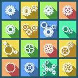 Inzameling van radertjes en geplaatste toestellenpictogrammen Stock Fotografie