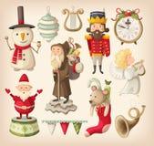 Inzameling van retro Kerstmisspeelgoed Royalty-vrije Stock Foto