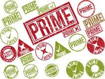 Inzameling van 22 rode grunge rubberzegels met tekst Stock Fotografie