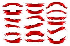 Inzameling van rode lege lintbanners Stock Afbeelding