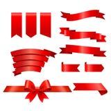 Inzameling van rode linten Stock Fotografie