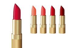 Inzameling van rode lippenstift Stock Afbeelding