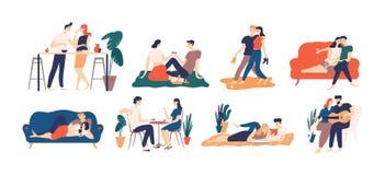 Inzameling van romantische paar het besteden tijd of het ontspannen samen - hebbend picknick, lezend boeken, drinkend koffie of w vector illustratie