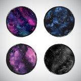 Inzameling van ronde kosmisch, astro vectorachtergronden royalty-vrije illustratie