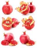 Inzameling van rood granaatappelvruchten gezond voedsel stock afbeeldingen