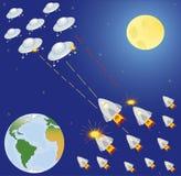 Inzameling van ruimteschip, planeten en sterren Royalty-vrije Illustratie