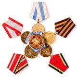 Inzameling van Russische (sovjet) medailles Royalty-vrije Stock Foto's
