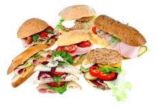 Inzameling van sandwiches stock afbeelding