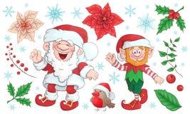 Inzameling van Santa Claus Vrolijke Kerstmisreeks Vector, illustratie stock afbeeldingen