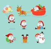 Inzameling van Santa Clauses, reeks van Kerstmis Santa Claus, Kerstman op de winterachtergrond Vrolijke Kerstmis Vector Illustratie