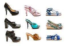 Inzameling van schoenen op witte achtergrond wordt geïsoleerd die royalty-vrije stock foto's