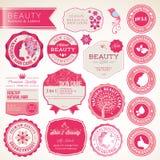 Inzameling van schoonheidsmiddelenetiketten en kentekens Stock Foto