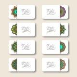 Inzameling van sier bloemenadreskaartjes, Stock Afbeeldingen