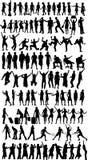 Inzameling van silhouetten Stock Foto's