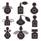 Inzameling van silhouetten van flessen voor parfum Vector illustr stock illustratie
