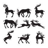 Inzameling van silhouetten van herten in verschillend Stock Afbeeldingen
