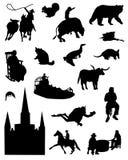Inzameling van silhouetten van het Zuiden van de Verenigde Staten van Amerika Royalty-vrije Stock Foto