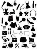 Inzameling van silhouettenpunten Stock Afbeelding
