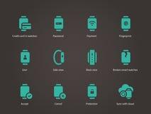 Inzameling van slimme horloge en betalingsapp geplaatste pictogrammen Stock Afbeelding