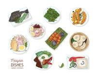 Inzameling van smakelijke maaltijd van Maleise keuken Bundel van heerlijke kruidige Aziatische restaurantschotels die op platen l stock illustratie