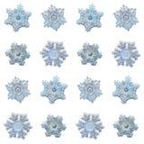 Inzameling van sneeuwvlokken op witte achtergrond wordt geïsoleerd die Royalty-vrije Stock Foto