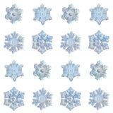 Inzameling van sneeuwvlokken op witte achtergrond wordt geïsoleerd die Royalty-vrije Stock Fotografie
