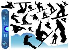 Inzameling van snowboardvector vector illustratie
