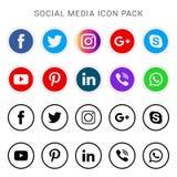 Inzameling van sociale media pictogrammen en emblemen royalty-vrije stock fotografie