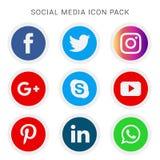 Inzameling van sociale media pictogrammen en emblemen stock fotografie