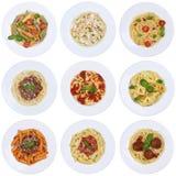 Inzameling van spaghetti, geïsoleerde de deegwarenmaaltijd van Raviolinoedels royalty-vrije stock afbeelding