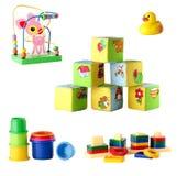 Inzameling van speelgoed voor jonge die kinderen op witte backgrou worden geïsoleerd Stock Foto's
