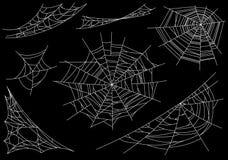 Inzameling van Spinneweb, op zwarte, transparante achtergrond wordt geïsoleerd die Spiderweb voor Halloween-ontwerp Spinnewebelem vector illustratie