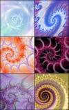 Inzameling van spiraalvormige fractals royalty-vrije illustratie