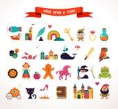 Inzameling van sprookjeelementen, pictogrammen Stock Afbeeldingen
