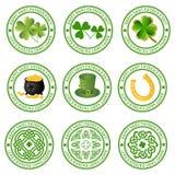Inzameling van st. patricks emblemen Royalty-vrije Stock Foto's