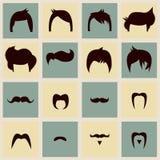 Inzameling van stijlen en de snorren van het hipster retro haar Stock Foto