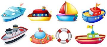 Inzameling van stuk speelgoed boten Stock Foto