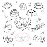 Inzameling van suikergoed en hart voor de Dag van Valentine, ontwerpuitrusting voor het verfraaien van groetkaarten stock illustratie