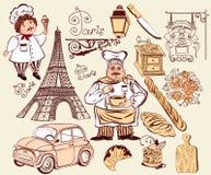 Inzameling van symbolen van Parijs. Royalty-vrije Stock Afbeeldingen