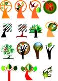 Inzameling van symbolische bomen Stock Fotografie