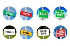 Inzameling van 8 tekens in cirkels Stock Fotografie