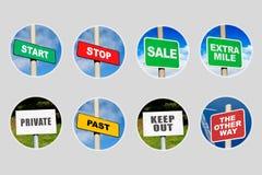 Inzameling van 8 tekens in cirkels Stock Foto's