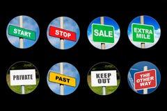 Inzameling van 8 tekens in cirkels Stock Foto