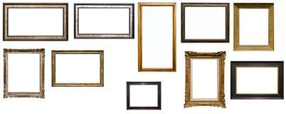Inzameling van tien antieke omlijstingen Stock Fotografie
