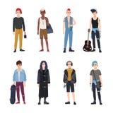 Inzameling van tieners, ventilators van diverse de jeugdsubculturen of countercultures - punker, rots, hiphop, skateboard, goth stock illustratie