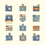 Inzameling van Toy Camera Vector Stock Afbeelding