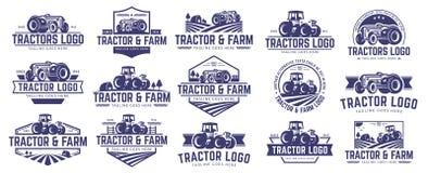 Inzameling van Tractor en landbouwbedrijfembleemmalplaatje, vectorreeks, vectorpak Royalty-vrije Stock Afbeeldingen